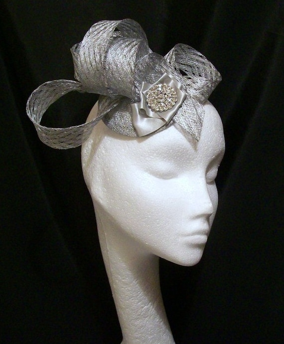 Metallic Silver Sculptured Sinamay Loop & Diamante Designer Wedding Fascinator Mini Hat