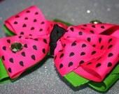 Watermelon Hot Pink Green Hair Bow