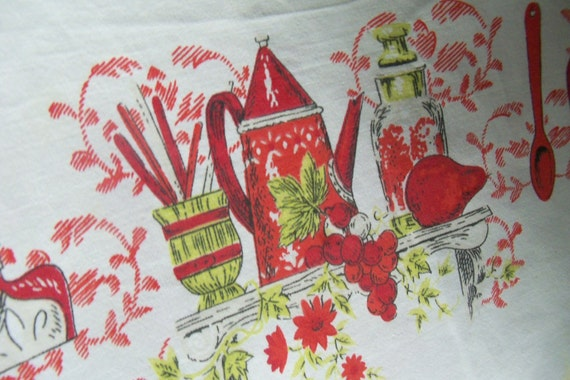 SALE 50% off  -  Vintage Table Cloth Red green Motif on White