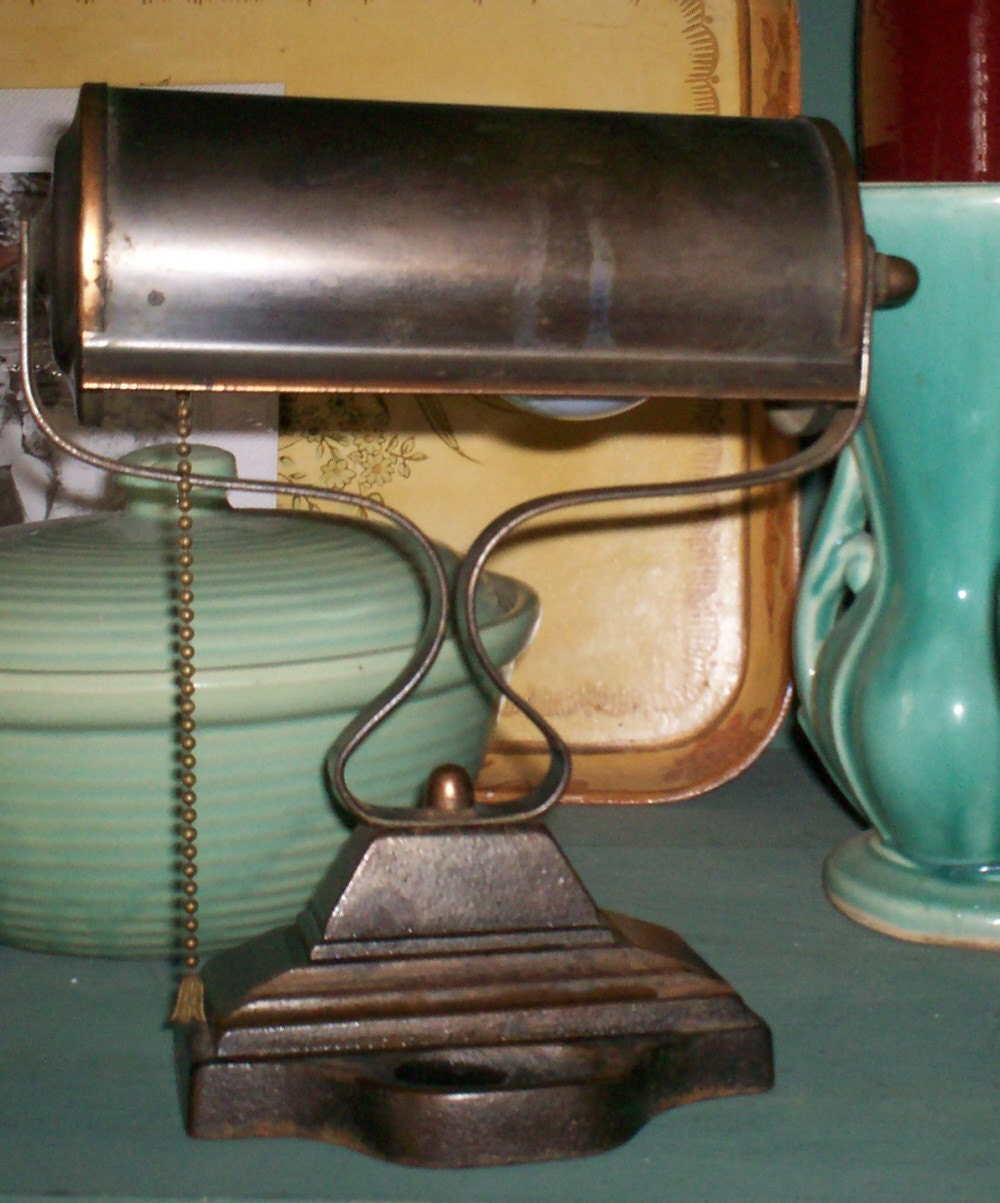 Antique Vintage Copper Brass Desk Lamp Banker S Lamp Cast