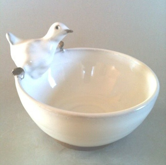 Baby Chick -White - Animals In My Soup - bowl series - kid's best friend at the dinner table by Miranda Gould on Etsy