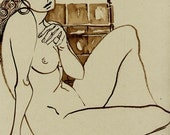 Claire - Original Indian Ink Drawing - Nude
