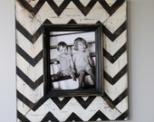 Mod Chevron Distressed Wood Picture Frame Black and White
