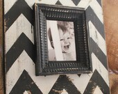 The Berkus- Mod Chevron Distressed Wood Picture Frame Black and White, To be featured on The Nate Berkus Show in May