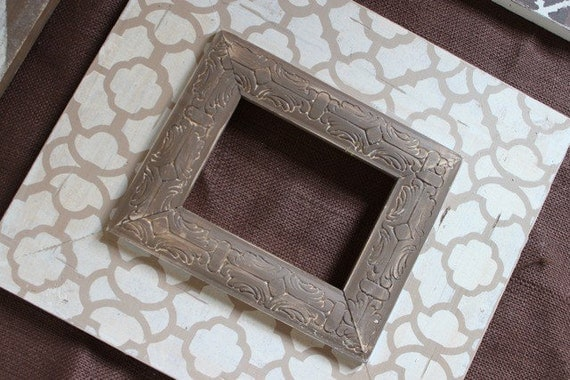 Moroccan Cream and Taupe w/ Embossed Chocolate Trim Distressed Wood Picture FRame 5x7