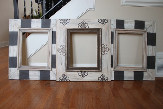Set Grouping of Distressed Handmade Picture Frames, Hand Painted on Hardwood Black, Taupes,Creams 3- 11x14's