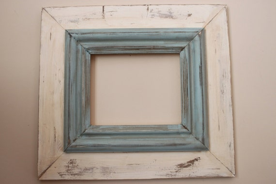 8x10 Wide Wood Uber Distressed Wood Frame Shabby Cream and Robin's Egg Blue Crown Trim Picture Frame