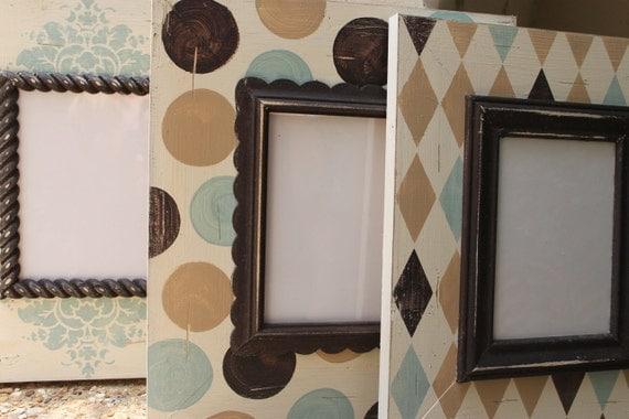 Set of Three-5x7 Nursery Wood Picture Frames Baby Boy or Girl Gender neutral Unisex Robins Egg/Wheat/Espresso