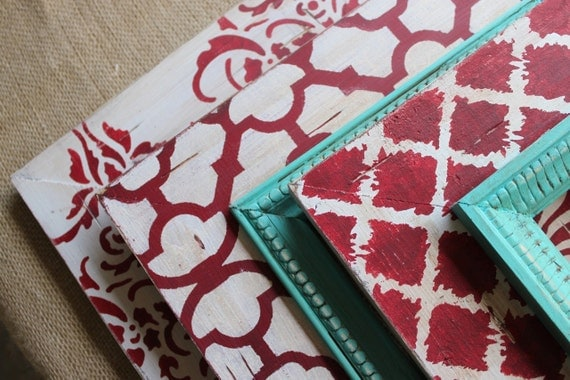 Set of 3 Table Top or Wall Hanging Distressed Frames: Turquoise, Cream and Red, 2-5x7 1-4x4