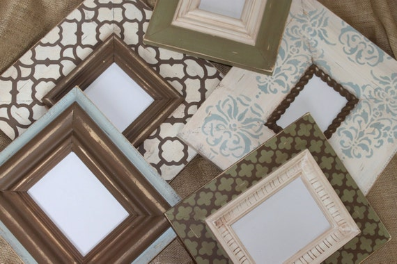 Custom Distressed Picture Frame Gallery Wall Set of 5, ANY colors