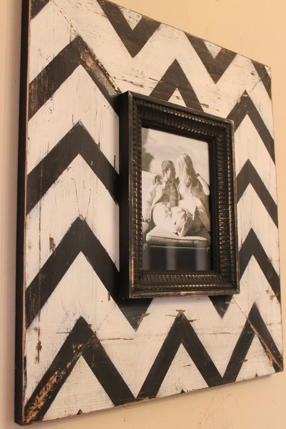 Mod Chevron Distressed Wood Picture Frame Black and White, To be featured on The Nate Berkus Show in May