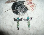 Dragonfly ear threaders - sterling silver