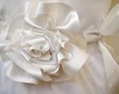 Silk Satin Ivory  LARGE ROSE Floral Wedding Bridal  Ribbon Sash Belt