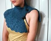 Crochet Navy Blue Victorian Capelet Shrug scalloped Wrap