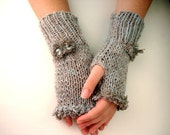 Gray Fingerless Gloves for teen girls or Adult women button and bow emblishment