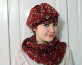 Red Hand Knitted  hat ,burgundy adult beanie