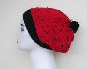 Knitt slouchy beret black in red adult women beanie