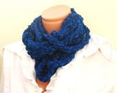 Shabby chic Crochet recycle cobalt blue  velvet yarn infinity scarf  long chain