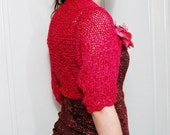 Hand knitted Bolero,Wrap,Shrug,Capelet Spring Summer Fashion with fabric  flower brooch