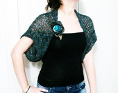 Loose Knit Green Bolero Wrap Knit Shrug Capelet Spring Summer Fashion with fabric  flower brooch