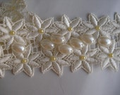Ivory pearl beaded Wedding Sash Belt hand sewn  Bead Embroidery daisies garden