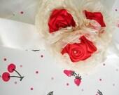 Ivory Cream Handmade Satin trio Organza Flowers Bride Sash Belt Ribbon Roses Floral Fashion Accessories For  Bridesmaid