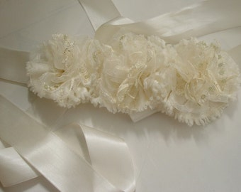 Flower Sash Bridal sash belt ivory wedding accessories