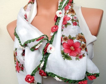 White summer scarf red flower crochet edge handmade scarf Traditional Turkish oya scarf  floral square scarf