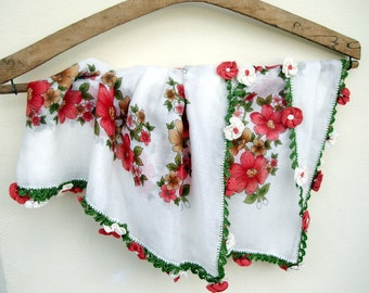 Unique White Ivory  Pastel red pink  Floral Cotton Fabric Scarf Shawl Crochet Lace