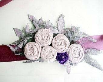 Hand Rolled Floral lavender sash belt