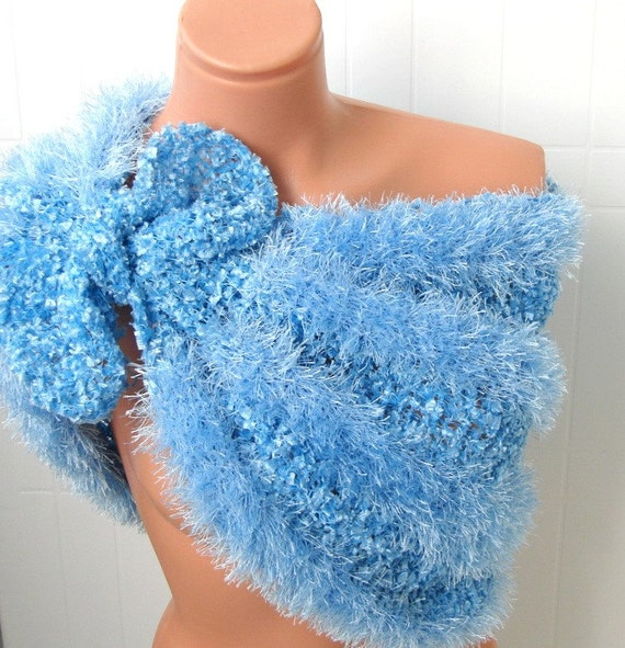 Blue Wedding Wrap Shrug Shawl Soft Fluffy  Romantic Capelet For Brides and Bridesmaids