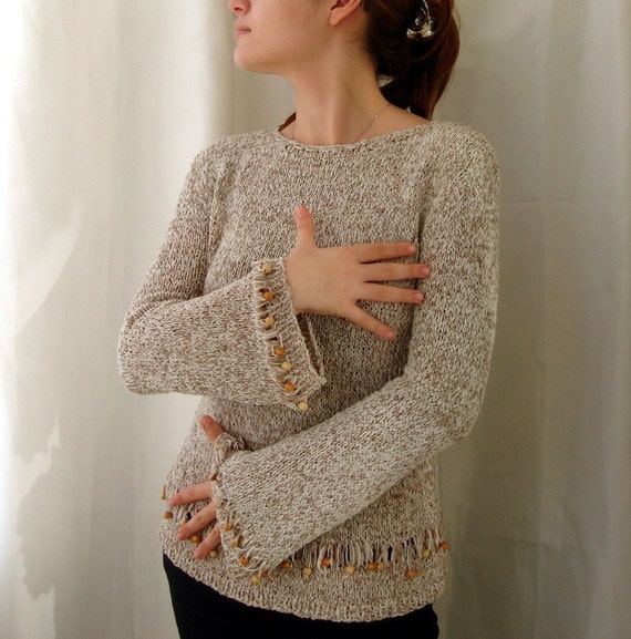Earth Tones Women Pullover Sweater wooden beaded knit  clothing Sale now 65