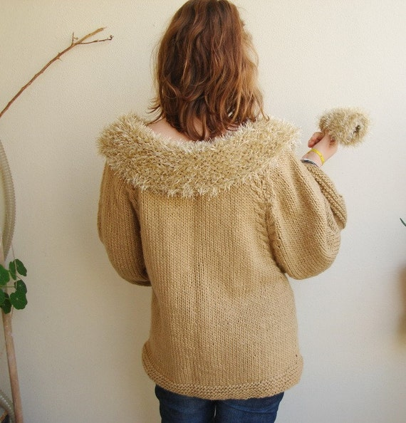 Handknitted Camel brown Furry Coat Jacket wearing a fur cardigan with chunky fingerless gloves sale now 100