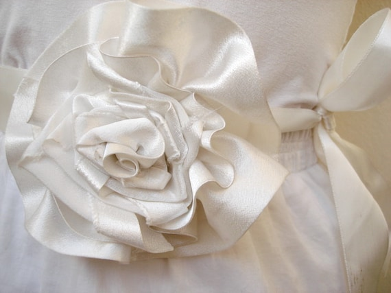 Silk Satin Ivory  LARGE ROSE Floral Wedding Bridal  Ribbon Sash Belt