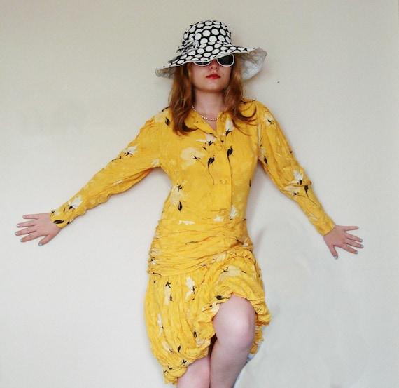 1980s mustard yellow balloon skirt Vintage tea Dress