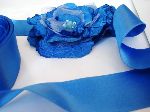 Cobalt Blue Big flower wedding Floral Bridal Sash belt