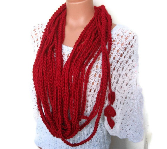 Crochet chain circle looped scarf with heart gift for her Oxblood Infinity Scarf