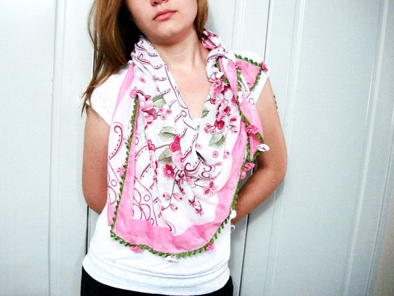 50% off White and pink  Floral Cotton Fabric Scarf Shawl Crochet Lace Women accessorie everyday