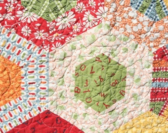 Baby Quilts for Sale / Wee Play Custom Baby Quilt / Hexagon Quilt / Gender Neutral / Nursery Bedding / Baby Gifts / Made to Order