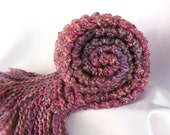 Purple Scarf Chunky Long Handmade Knitted Scarf Women Teen Girl Raspberry Fuchsia Pink - SticksNStonesGifts