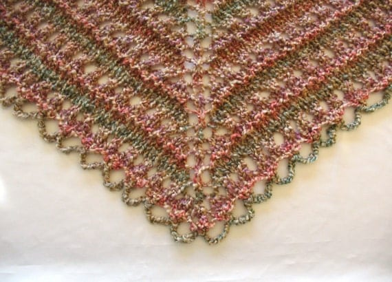 Knit Prayer Shawl Triangle Lace Wrap Hand Knitted Soft Rose Pink Mauve Beige Sage Green Natural Earth Tones