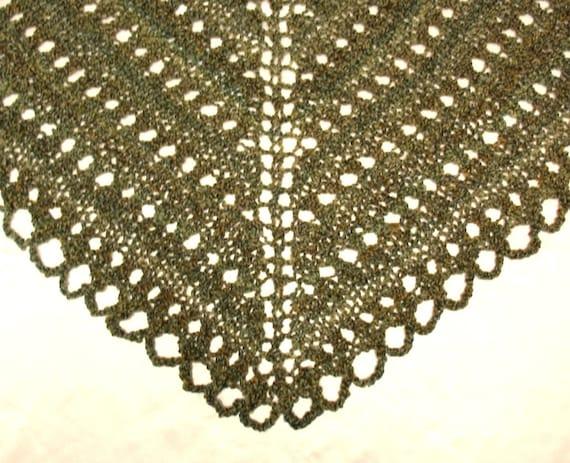 Shawl Hand Knit Lace Shawl Moss Green
