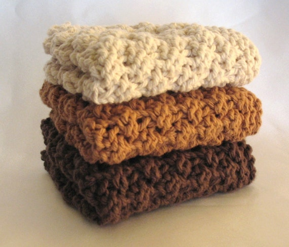 Cotton Dishcloth Knit Chocolate Brown Earth Tones Coffee Mocha Hand Knitted Dish Wash Cloth Handmade