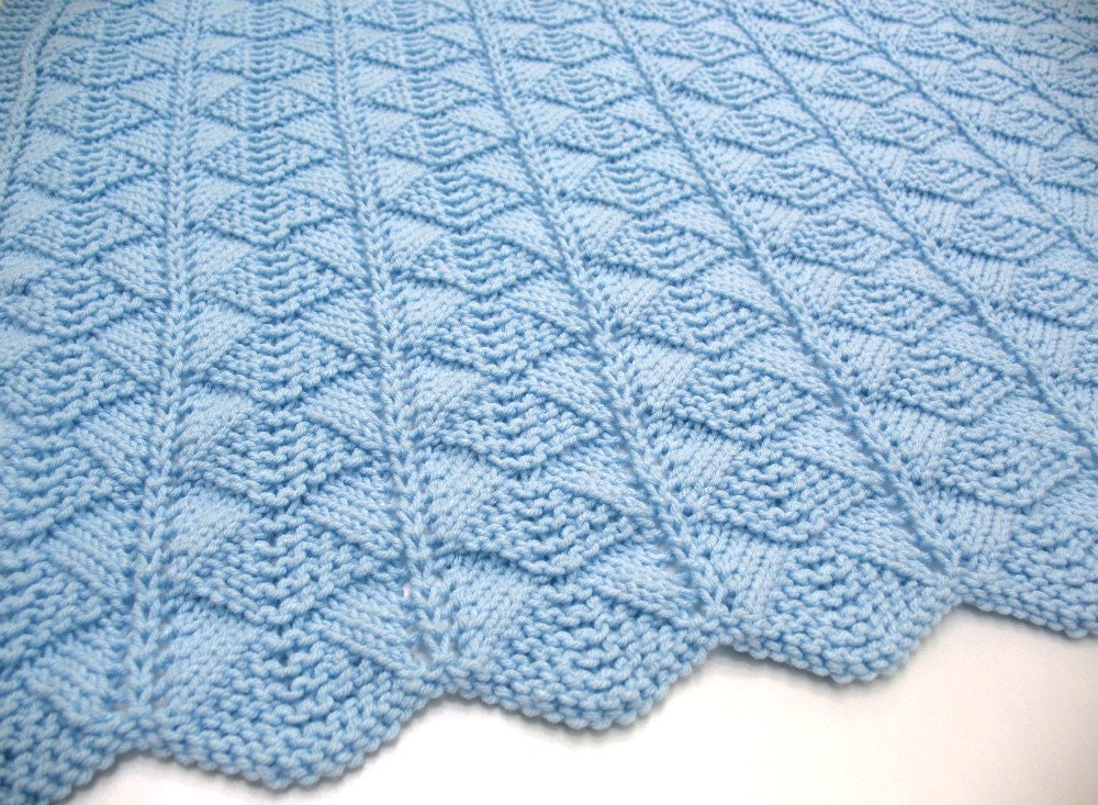Knitting Blankets : Blue baby blanket hand knit by sticksnstonesgifts