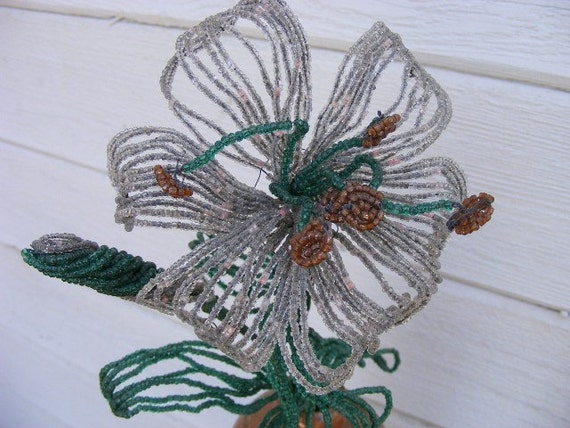 Vintage French Beaded Flower in Silver and Green seed beads - shabby cottage chic