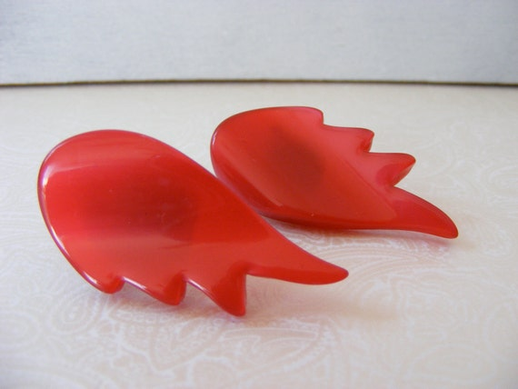 Cherry Red Lucite Flaming Earrings, clip backs