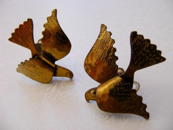 Vintage Brass Doves Earrings, Twist back