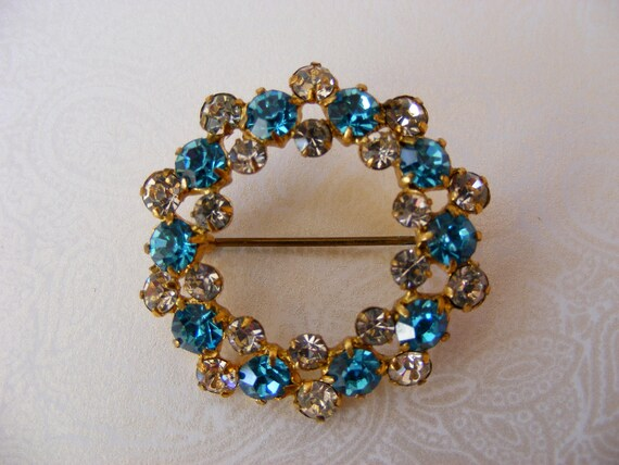 Blue Rhinestone Pin, Vintage gold-tone, Germany