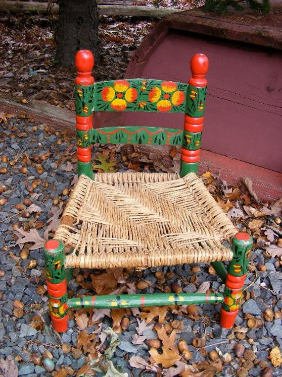 Vintage Doll or Child's Painted Wood Chair