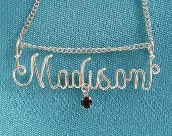 Sterling Silver Wire Name Necklace